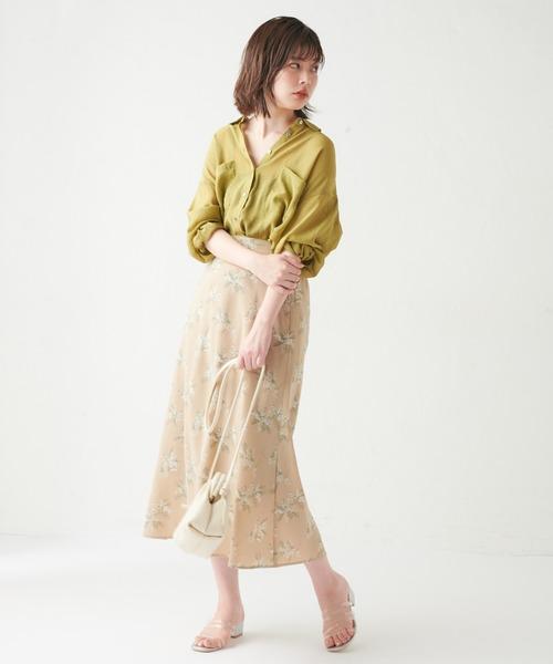 [natural couture] リゾート柄マーメイドスカート