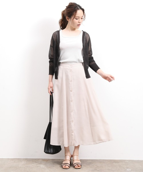 [ViS] 【WEB限定】シアーフロントボタンスカート