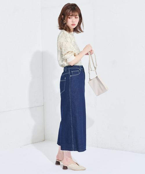 [natural couture] 【WEB限定】配色フラワー6分袖レースブラウス
