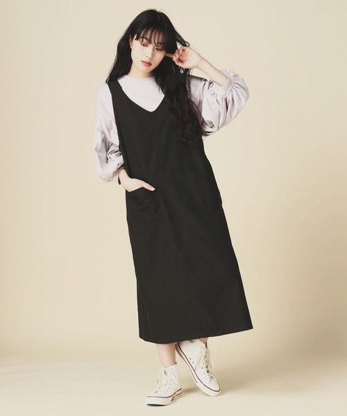 クールなブラックデニムのジャンパースカート