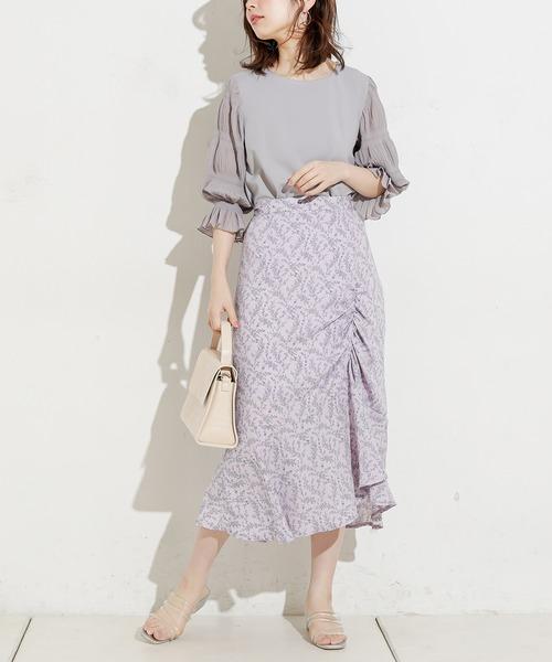 [natural couture] 野花柄ギャザーフリルスカート