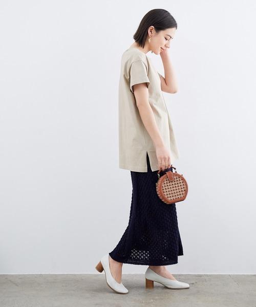 [ROPE'] 【おうち服】【セットアップ対応】レース編みニットスカート
