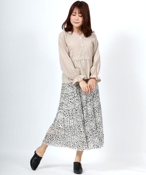 [Salong hameu] シフォンプリーツスカート[アニマル]