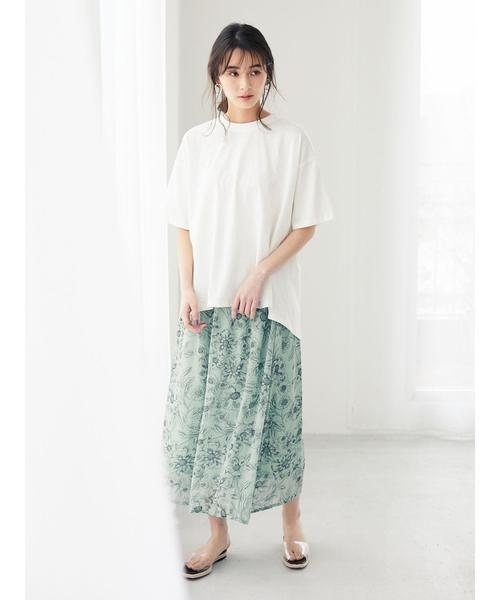 [Green Parks] ・【ELENCARE DUE】 ラインフラワーptスカート*★