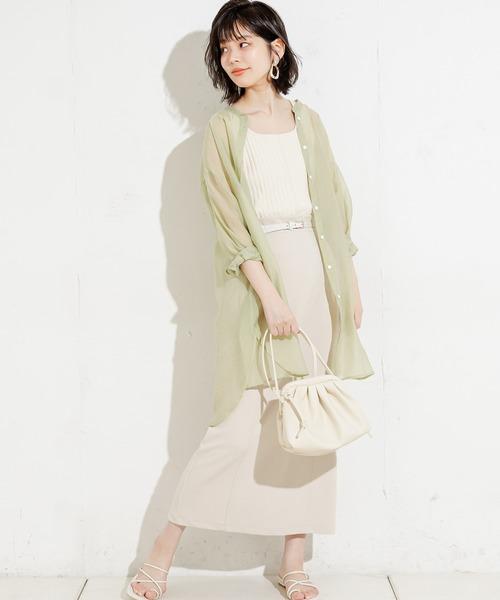 [natural couture] 90cm丈ベルト付きカットタイトスカート