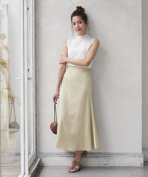 [kobelettuce] サイドボタンマットサテンスカート
