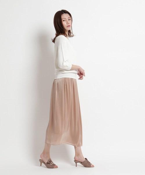 [COUP DE CHANCE] 【洗える】グロッシーギャザーロングスカート