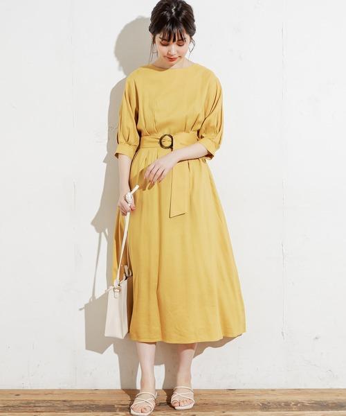 [natural couture] 【WEB限定カラー有り】リネン前釦2WAYワンピース