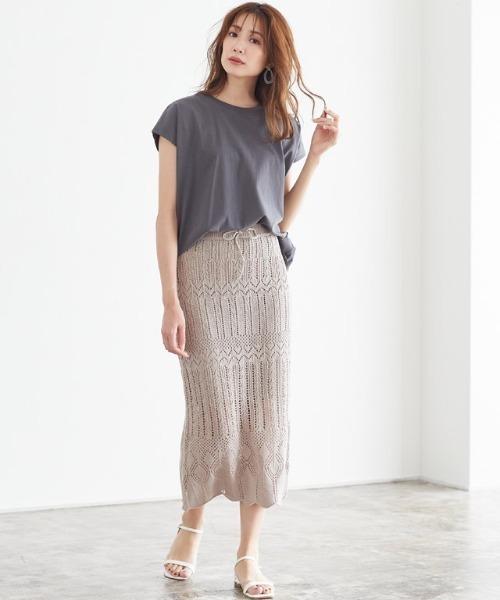 [Pierrot] 透かし編みロングスカート