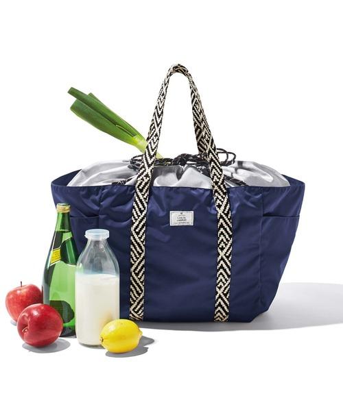 [FELISSIMO] リブ イン コンフォート はまじとコラボ 保冷素材を使用した シックに持てるこだわりのレジかごトートバッグ〈ネイビー〉