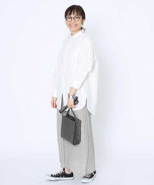 [coen] ヘリンボーンプリーツシフォンスカート