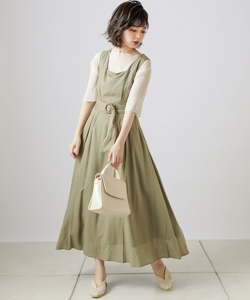 [natural couture] 【WEB限定カラー有り】リネンバッククロスジャンバースカート