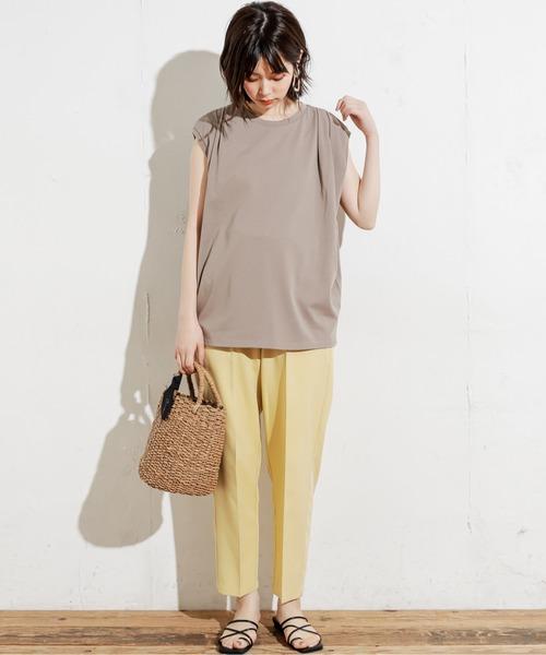 [natural couture] センターブレステーパードカラーパンツ