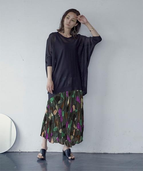 [titivate] マルチカラープリントプリーツスカート