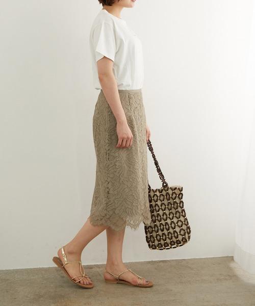 [ROPE' PICNIC] 【セットアップ対応】【着丈が選べる】リーフレーススカート