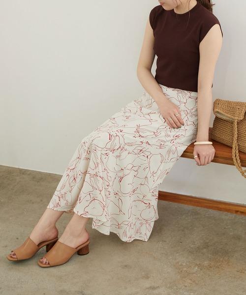[ROPE' PICNIC] 【一部店舗限定】花柄イレヘムスカート