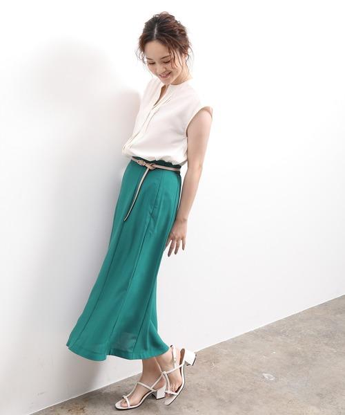 [ViS] セミフレアミモレ丈スカート