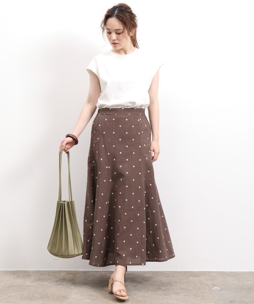 [ViS] 【WEB限定】綿麻ツイルドットマーメイドスカート