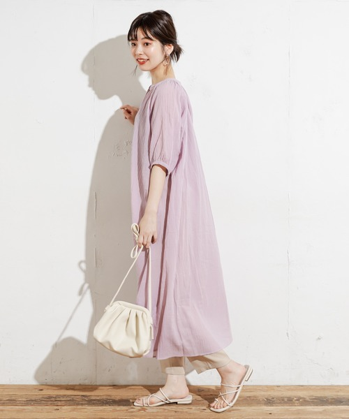 [natural couture] 綿シフォンシアーシャツワンピース