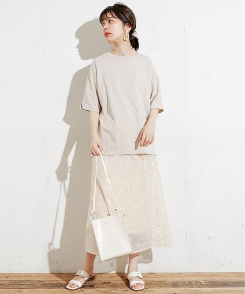 [natural couture] 【WEB限定カラー有り】シアーマーガレット刺繍大人スカート