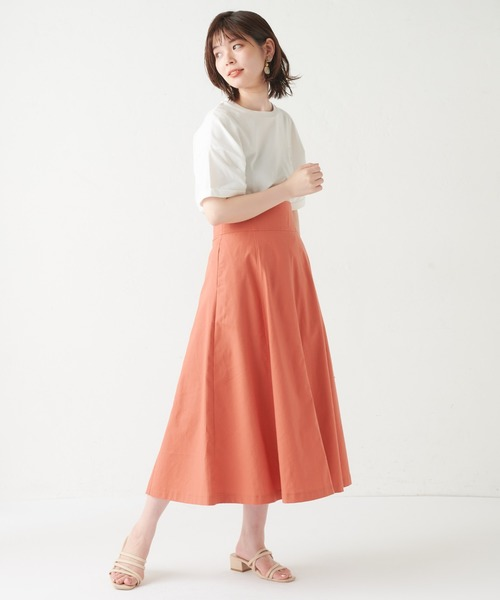 [natural couture] ハイウエスト綿麻フレアスカート