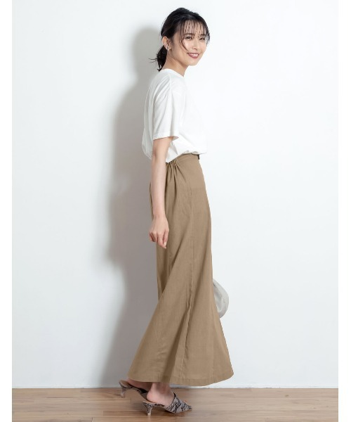[Re:EDIT] [お家で洗える][低身長向けSサイズ対応][高身長向けMサイズ対応]リネンブレンドセンタースリットナロースカート