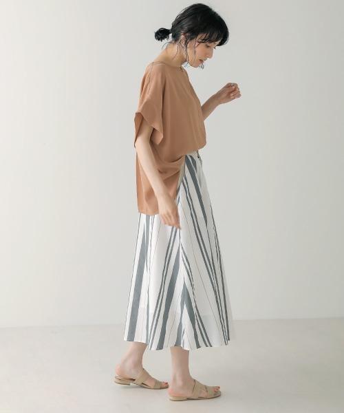 [Bou Jeloud] シワになりにくい麻混ストライプスカート