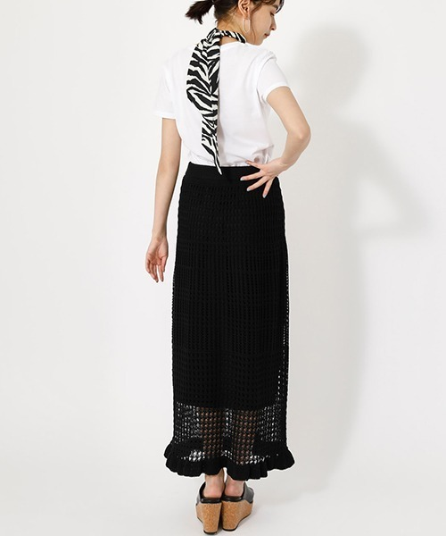 ゼブラスカーフ×クロシェットスカート