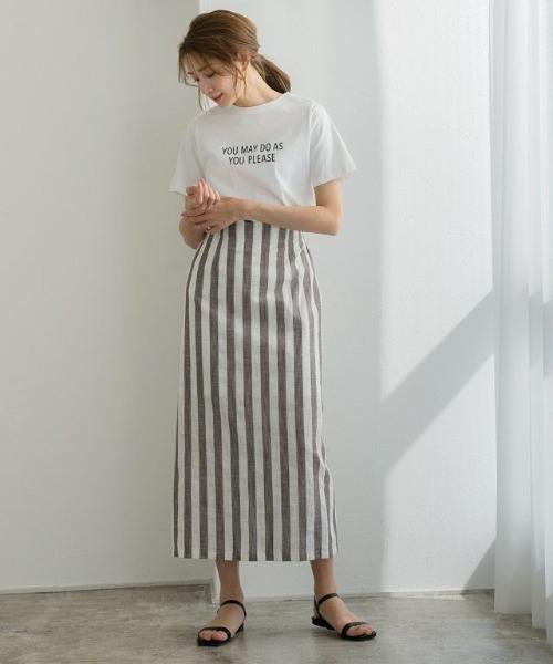 [Pierrot] 麻混ストライプロングスカート