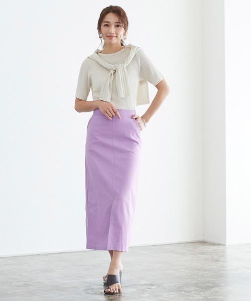 [Pierrot] 綿麻ナロースカート
