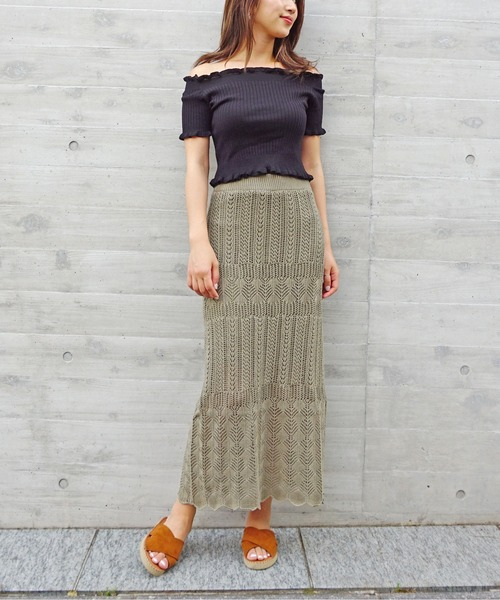 [Roomy's] 【ZOZO限定】クロシェタイトスリットスカート