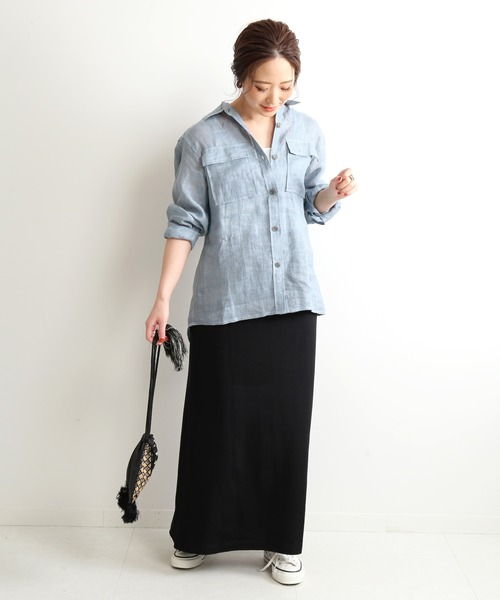 デニムシャツ×Aラインスカート