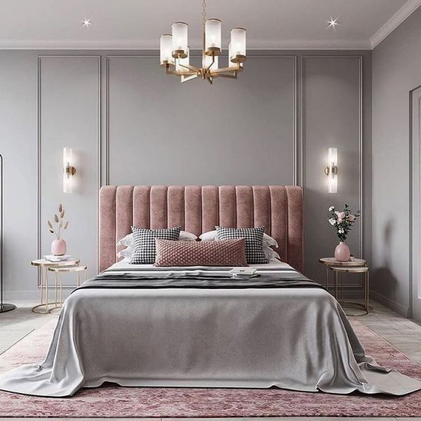 赤みのある紫を使った寝室インテリア