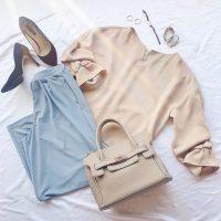 【エピセ毎日コーデ】ワイドパンツをサラッと穿きこなす!トレンドの淡色カラーを取り入れたオフィススタイル(6/21コーデ)