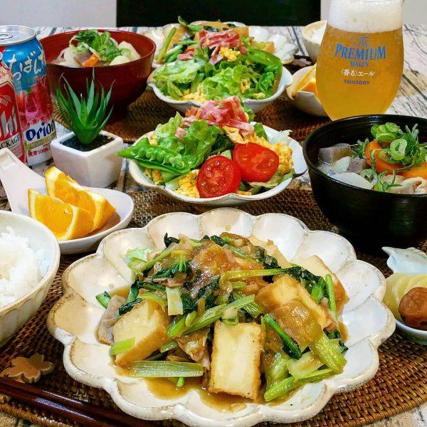 野菜たっぷり献立に!ターサイと豚バラと厚揚げの香味炒め