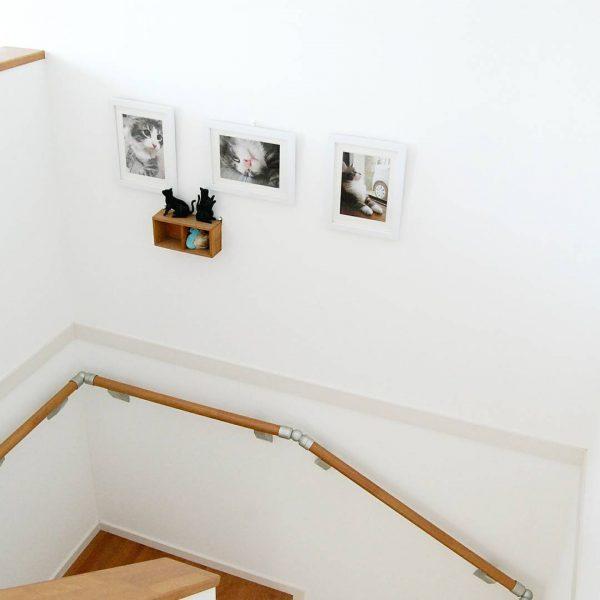 猫ちゃんの写真が階段のアクセントに