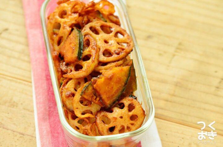 簡単!れんこんとかぼちゃのバルサミコ酢サラダ