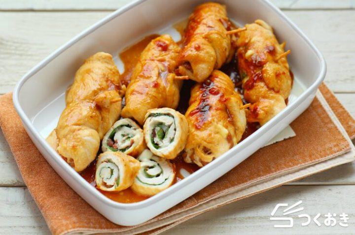 鶏肉で簡単レシピ!ささみの梅しそチーズ巻き