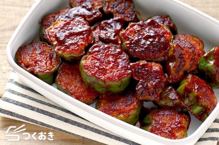 豚ひき肉の簡単なレシピ!ピーマンの肉詰め