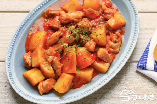 洋食におすすめ!鶏肉とじゃがいものトマト炒め