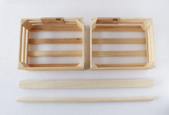 セリア 持ち手付きウッドボックス DIY3