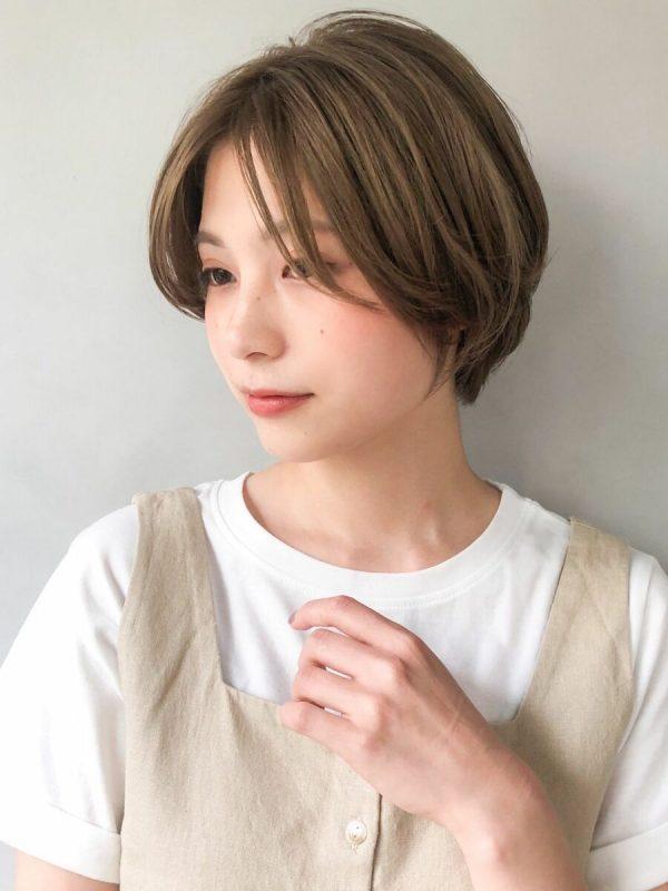 外国人風の丸顔×ショートボブパーマ