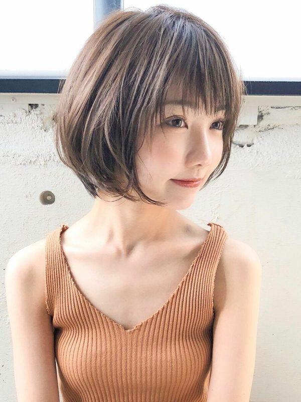 小顔効果ありの丸顔×ショートボブパーマ
