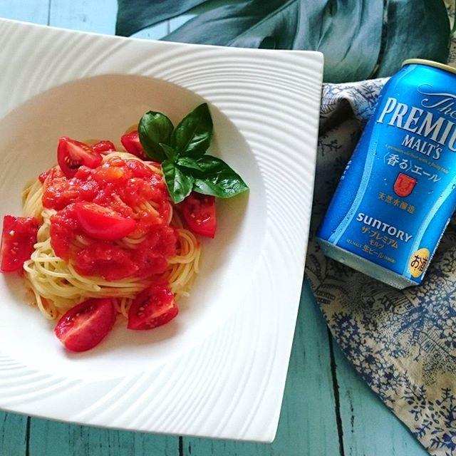 トマトソースとフレッシュトマトの冷製パスタ