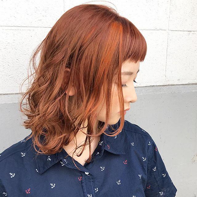 明るめのアプリコットの髪色