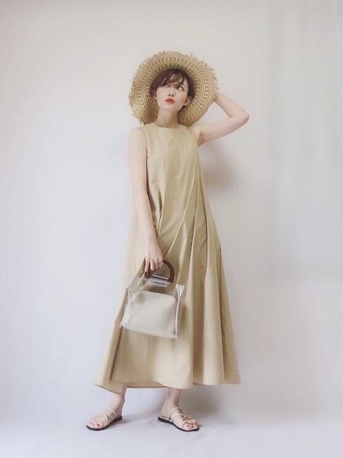 [JUNOAH] 【綿100%】ボリュームフレアノースリーブマキシ丈ワンピース