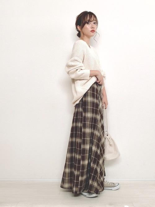 冬にぴったりチェック柄フレアスカート