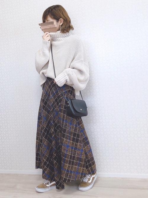 [MAYSON GREY] 【socolla】大柄チェックフレアスカート
