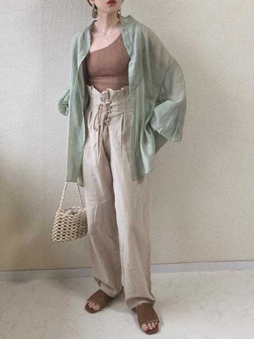 [Birthdayroom] 【ファッションインフルエンサーmisato×Birthdayroom】シアーバルーンスリーブビッグシャツ/オーバーシャツ/バルーン袖