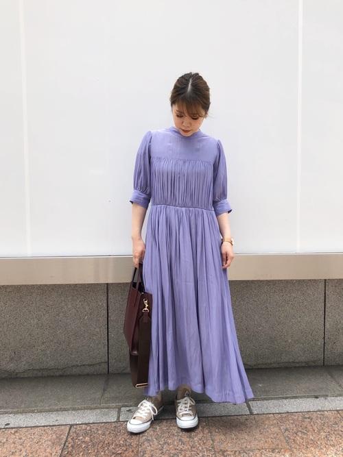 [PUBLIC TOKYO] ハイネックギャザーワンピース